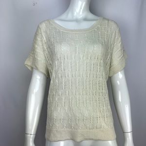 Joie Cream Crochet Knit Blouse Ivory Top
